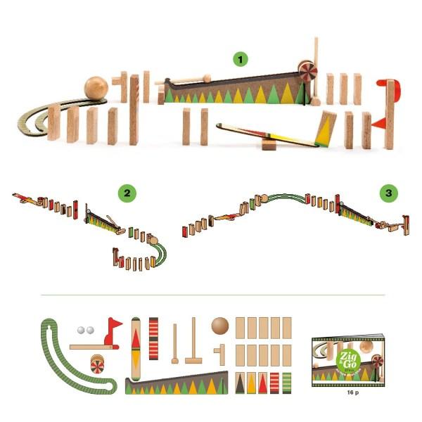 Zig & Go Curve contenu de la boite avec les différents circuits possibles