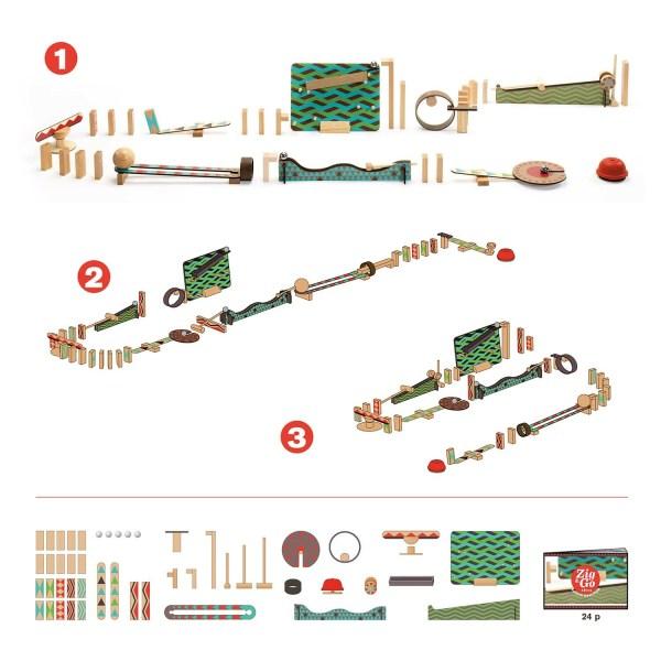 contenue du jeu Zig & Go Big Boum Wall avec les différents circuits