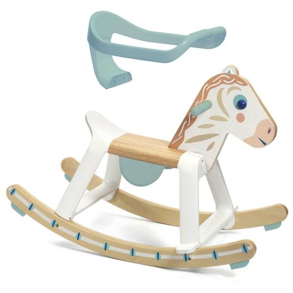 Cheval à bascule BabyCavali en bois avec arceau amovible en l'air