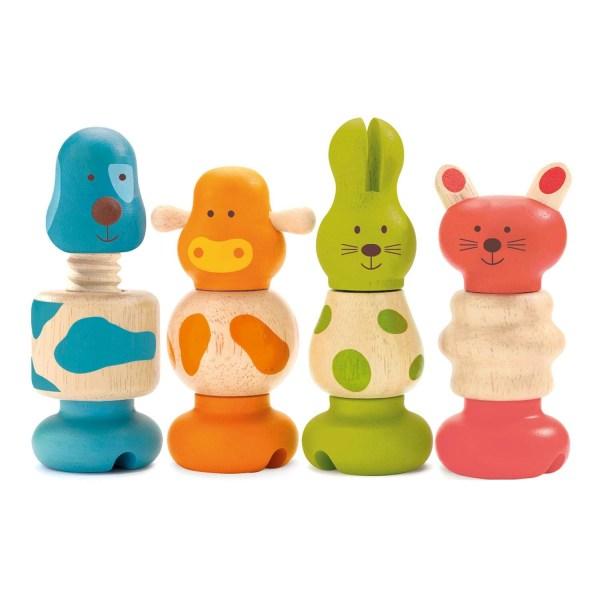 Vis animo 4 animaux : chien bleu, vache orange, lapin vert et chat rouge à visser