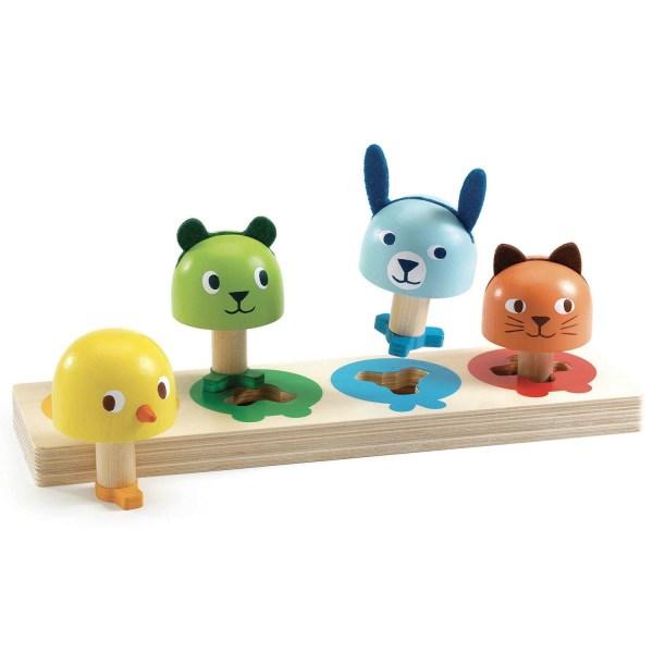 Tourniki 4 animaux en bois de différentes couleurs à enclencher dans une planche