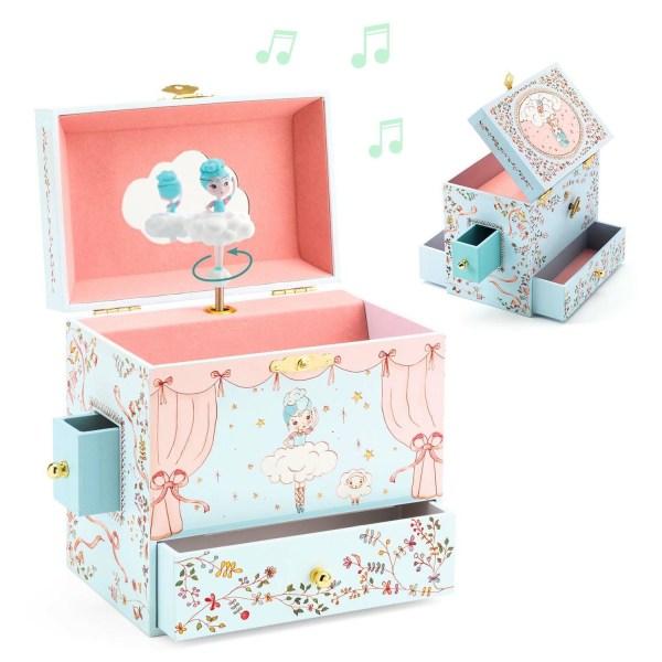 visuel de la Boite à bijoux Ballerine en scène ouverte à l'avant avec 2 tiroirs ouverts et sur le côté arrière avec un autre tiroir ouvert