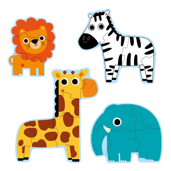 puzzles évolutifs Jungle lion 3 pièces zèbre 4 pièces éléphant 5 pièces girafe 6 pièces