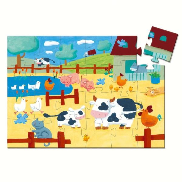 Puzzle Les vaches 24 pièces avec le dessin du ferme et ses animaux