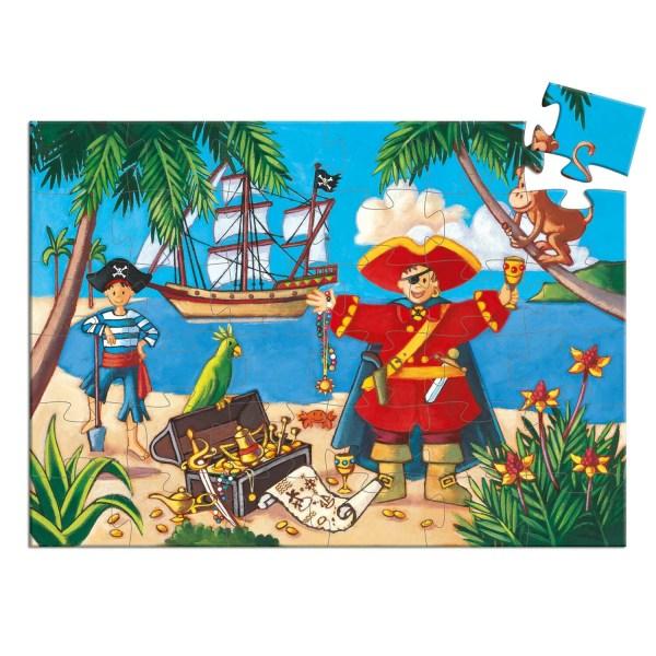 Puzzle Pirate 36 pièces avec un dessin d'un pirate et son moussaillon vers un trésor sur une île avec le bateau au fond