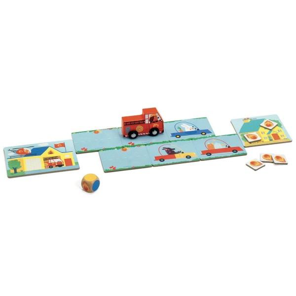 plateau du jeu PinPon avec un dé à couleurs et un camion de pompier