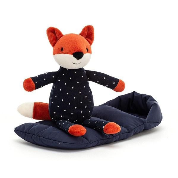 Le doudou Snuggler Foxest un renard très câlin qui a enfilé un joli pyjama bleu marine à poids blanc. Il se tient prêt pour aller au lit avec son sac de couchage molletonné de couleur bleu marine assorti au pyjama.