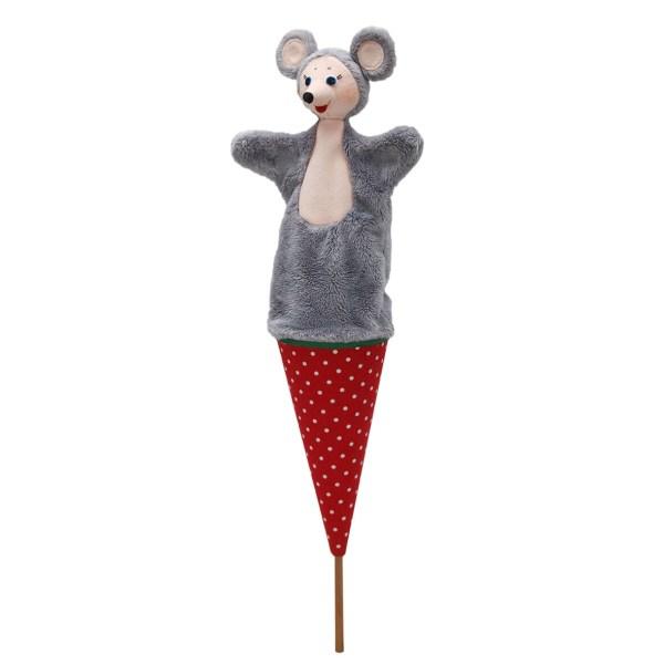 Marotte souris grise sur un conne rouge avec un bâton