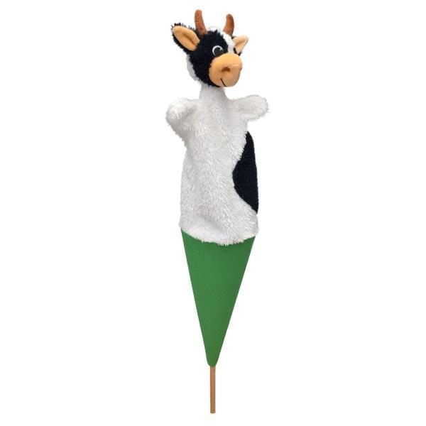 Marottes Vache blanche avec des taches noires sur un cône vert avec un bâton