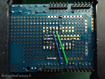 La réalisation du nouveau circuit sur un shield de prototypage à pastilles