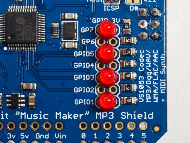 GPIO du Shield MP3