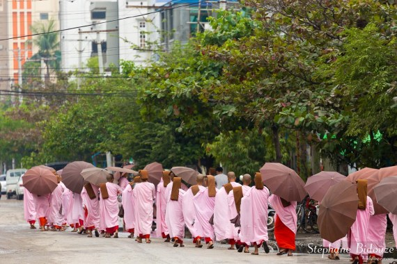 nonnes-rangée-ligne-rose-mandalay
