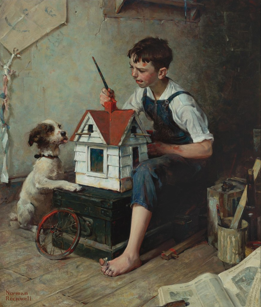 "Norman Rockwell painting, ""Painting the Little House."""