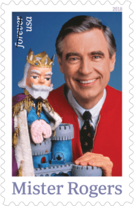 Image of a U.S. postal stamp showing Fred Rogers.