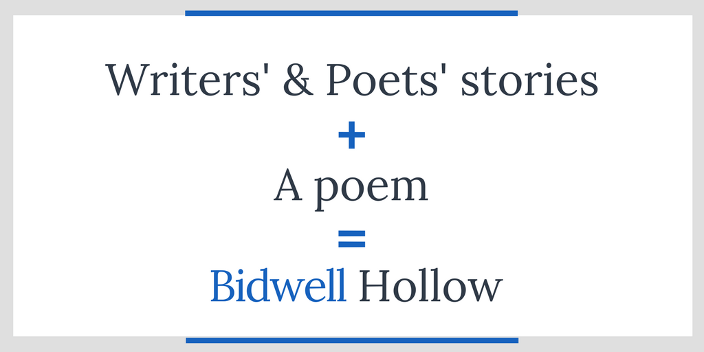"Image reading, ""writers' and poets' stories plus a poem equals Bidwell Hollow."""