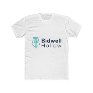 Photo of a white t-shirt with the Bidwell Hollow log on its front.