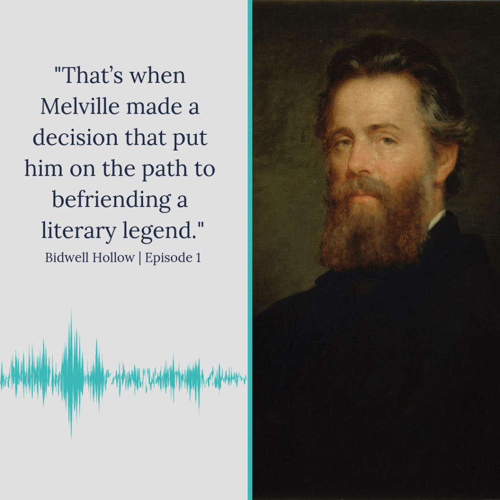 """Copy that reads, """"That's when Melville made a decision that put him on the path to befriending a literary legend"""" next to a portrait of Herman Melville."""