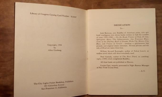"The dedication page for ""Howl"" by Allen Ginsberg, showing a dedication to Lucien Carr."