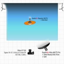 Schemat oświetleniowy dla pomarańczowego Bielacka naniebieskim tle.