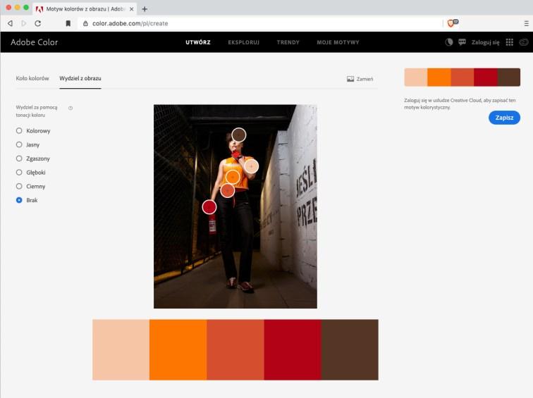 Narzędzie Adobe Color iharmonia nazdjęciu