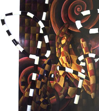 Gerardo Burmester 1986 COM ARMAS E BAGAGENS Pintura s/ Aglomerado 265 x 225 cm