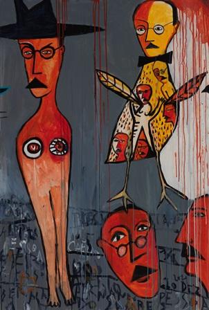 Agostinho Santos (PT) Sem título, 2011 Acrílica sobre tela 30 x 100 cm Obra realizada na Ação Coletiva de Pintura da XVI Bienal Internacional de Arte de Cerveira, decorrida de 16 a 23 de julho de 2011.