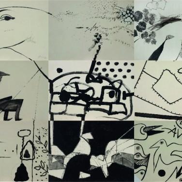 Artur Bual (PT), Eurico Gonçalves (PT), Henrique Silva (PT), Ângelo de Sousa (MZ), Álvaro Lapa (PT), Gracinda Candeias (AO), Justino Alves (PT), José Rodrigues (AO), Maria José Aguiar (PT) Cadavre esqui, 1978 Acrílica sobre papel 70 x 99 cm (x9) Obra realizada na I Bienal Internacional de Arte de Cerveira, decorrida de 5 a 31 de agosto de 1978.