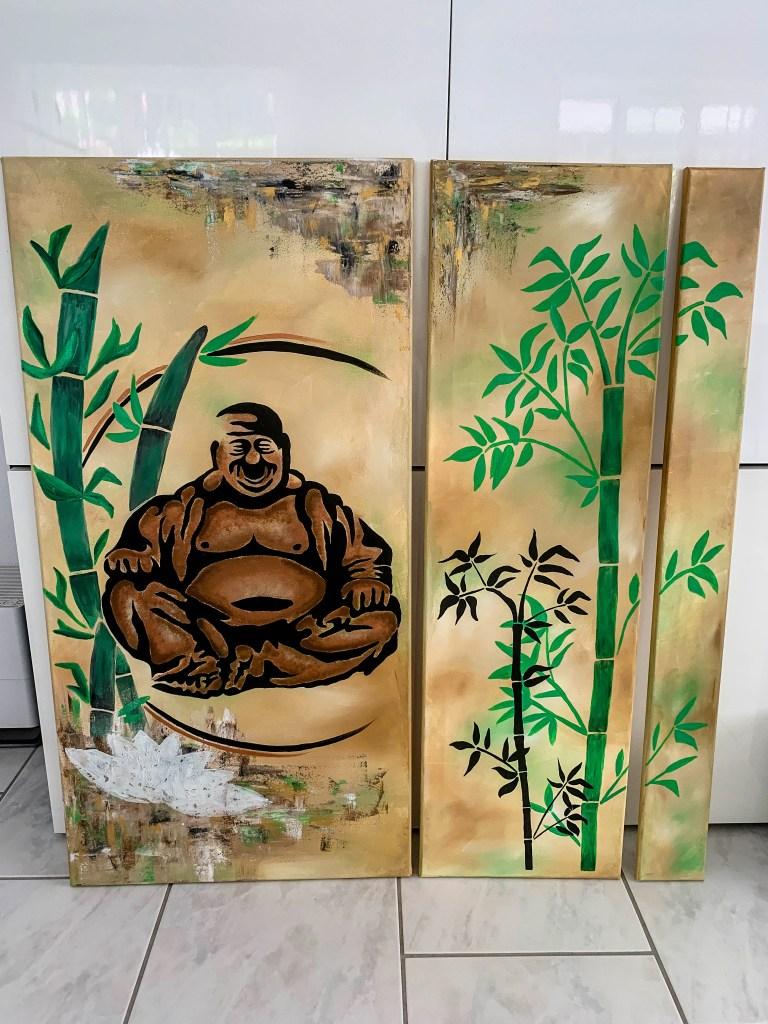 Keilrahmen Buddha Bambus