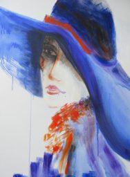 Regina Merta, DAME MIT HUT no. II, 100 x 80 cm, Acryl auf Leinen, 2014