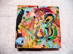Herwig Maria Stark, ART CUBE 1/14, size 20 x 20 x 6 cm, Mixed media on wooden cube