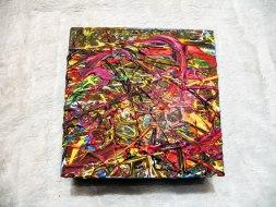 Herwig Maria Stark, ART CUBE 3/6, size 15 x 15 x 6 cm, Mixed media on wooden cube
