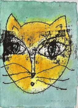 Hannes Neuhold, KATZE no 3, mixed media on handcrafted paper, 21 x 15 cm