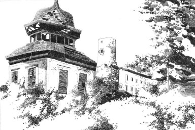 HERBERT BAUER, Burg Schrattenberg, graphite on paper, 30 x 40 cm
