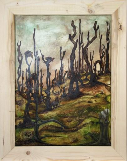 Jürgen Bley, SILVA NORDICA, Acryl auf Leinwand, 70 x 50 cm inkl. Holzrahmen 86 x 66 x 5 cm