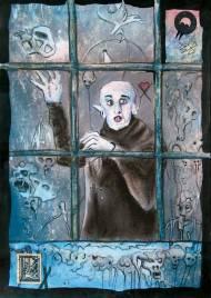 Jürgen Bley, DESIRE, series Nosferatu, 30 x 21 cm, mixed media on paper, 2015