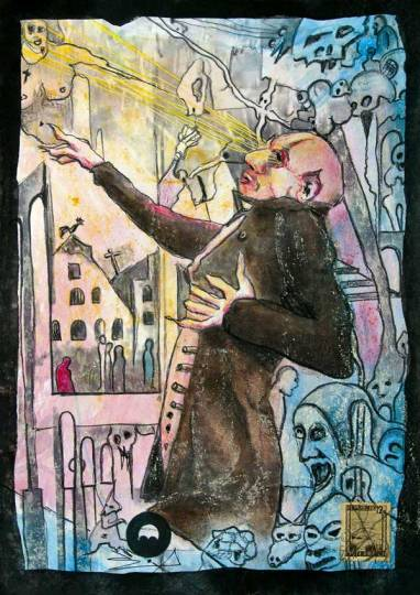 Jürgen Bley, FLASH, series Nosferatu, 30 x 21 cm, mixed media on paper, 2015