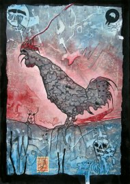 Jürgen Bley, SUNRISE, series Nosferatu, 30 x 21 cm, mixed media on paper, 2015