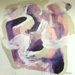 Agnieszka Ceccarelli, FINALLY TOGETHER, acrylic on canvas, 100 x 100 cm, 2016