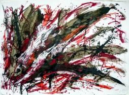 Darius Foroutan, DREI LETZTE BILDER, ink and acrylic on vat paper, 50 x 70 cm, 2014