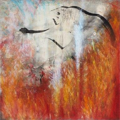 Atelier COOLPOOL (Daisy+Manfredo) - Der Urtraum, 95 x 95 cm, photography exposure, oil on canvas, 2014