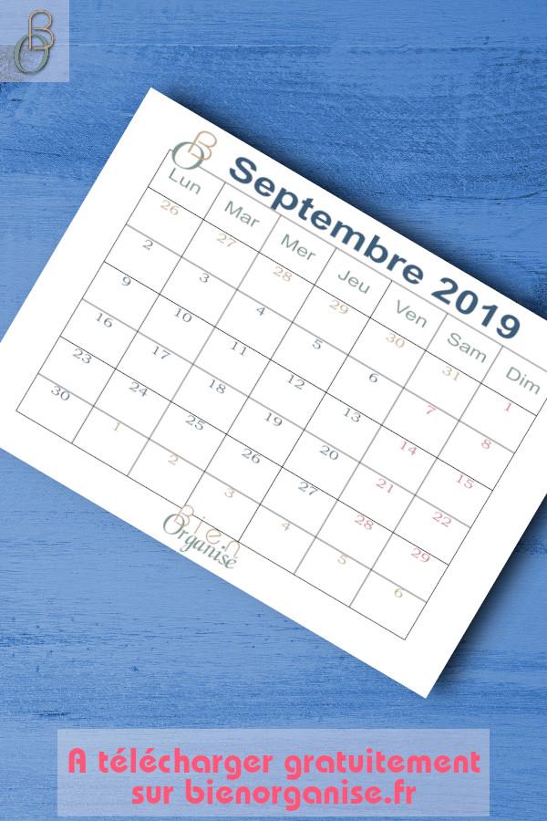 Freebie calendrier septembre 2019