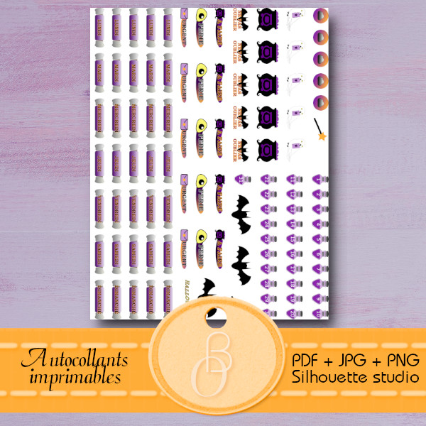 stickers for planner printable mini montly halloween