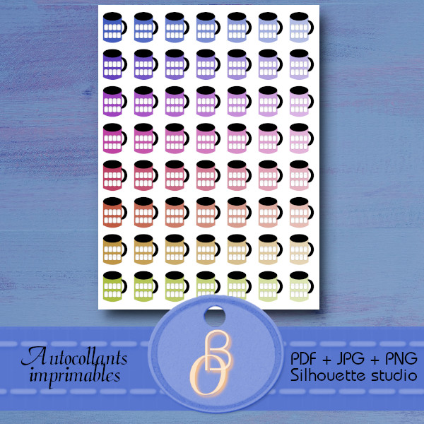 stickers for planner printable mug hydratation tracker