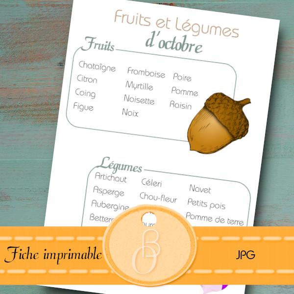 fruits et legumes du mois octobre