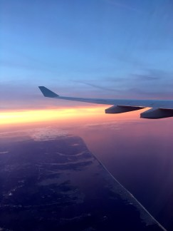 During my flight I saw the sunset over the Jersey Shore and rise over Madrid.