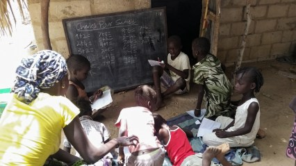 PCV led math class with village children