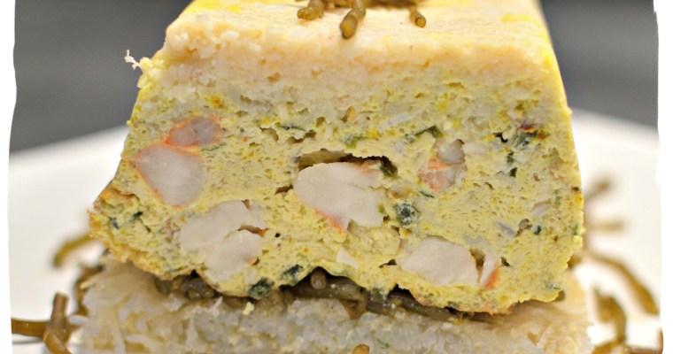 Chaud-froid de crabe et gambas sur croustillant aux algues