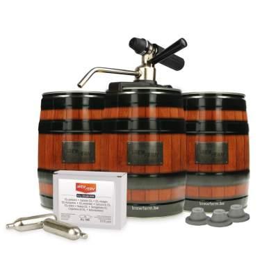 Startset Brewferm® Barrel minidrukvaatjes met Party Star Deluxe