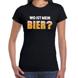 Wo ist mein bier fun shirt zwart voor dames drank thema