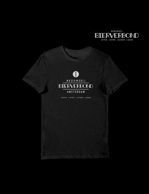 T-Shirt zwart met logo opdruk in wit van Brouwerij Bierverbond in Amsterdam